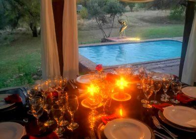 Lethabo Estate Evening Wedding Ceremony Table Pool