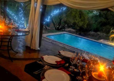 Lethabo Estate Evening Wedding Ceremony Tables Pool