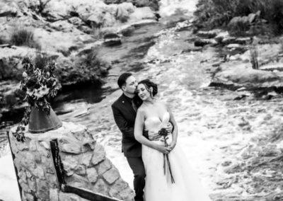 Wedding Lethabo Estate Rock Wall River Black White